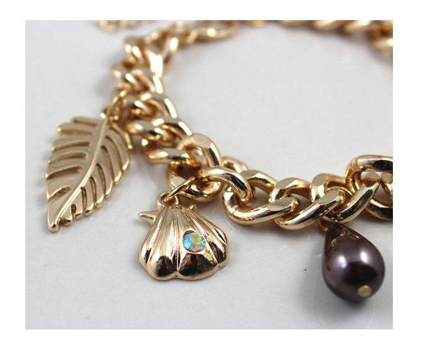 star 海洋系列 -海馬貝殼 樹葉十字架 金色手鏈-C71