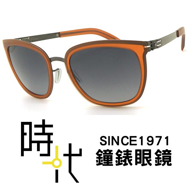 【台南 時代眼鏡 ic! berlin】maira b. gun metal 薄鋼 無螺絲 橢圓方框墨鏡 太陽眼鏡 橘 52mm