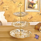 蛋糕架 歐式三層水果盤家用茶幾點心盤創意陶瓷蛋糕盤子多層雙層干果盤 4色【快速出貨】