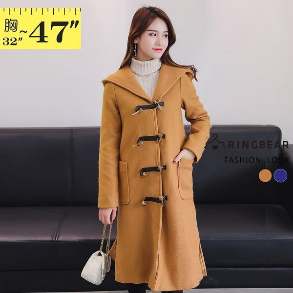 毛呢外套--時尚OL牛角扣開衩口袋連帽保暖毛呢大衣(藍.卡其M-3L)-J268眼圈熊中大尺碼
