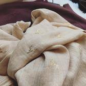 絲巾披肩  圍巾女絲巾燙金鹿角毛邊薄款紗巾披肩親膚柔軟棉麻圍巾女  『伊莎公主』