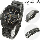 【萬年鐘錶】agnes b.法式時尚 三眼計時 IP鍍黑鋼帶 黑殼 黑面世界地圖  金刻度39mm VD53-KQ00F(BT3020X1)