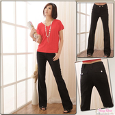 西裝褲--成為纖細長腿的儷人兒-韓版雙扣褲頭中腰小喇叭氣質西裝長褲(S-5L)-K07眼圈熊中大尺碼
