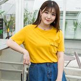 大韓訂製純色純棉圓領口袋短袖T恤女胖妹妹大碼女裝