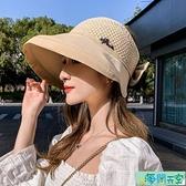 遮陽帽 帽子女夏天韓版遮陽防紫外線遮臉防曬帽夏季日系出游遮臉新款帽子