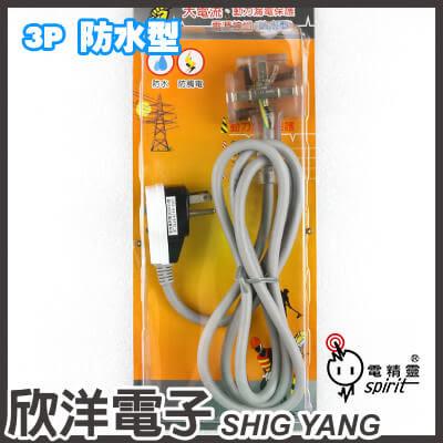 電精靈 大電流、動力漏電保護電源線組 防水型 漏電保護器+三面電源插座附接地 15A/110V(ASP-3003C)