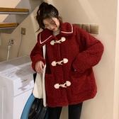 棉衣服女冬裝ins潮小個子新款洋氣時尚加厚羊羔毛牛角扣外套 雅楓居