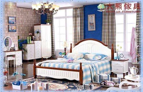 【大熊傢俱】杏之韓 DC826 英式地中海五尺床 鄉村風 雙人床 床台 床架 美式 實木床 北歐風 歐式床