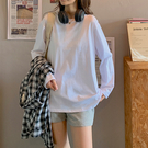 白色短袖T恤女2021夏季新款寬松韓系純棉純色長袖打底衫藍色上衣簡約百搭