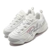 Fila 休閒鞋 Ray Run Script 米白 紅 女鞋 男鞋 老爹鞋 復古 厚底 大LOGO設計 【PUMP306】 4C351U177