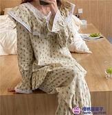 睡衣居家服連身裙睡裙韓版IG甜美蕾絲v領拼接碎花家居服超級品牌【小桃子】