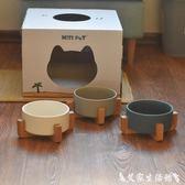 大口徑陶瓷貓碗 貓咪陶瓷碗 狗狗陶瓷碗狗盆貓盆 貓餐桌實木碗架 艾家生活館