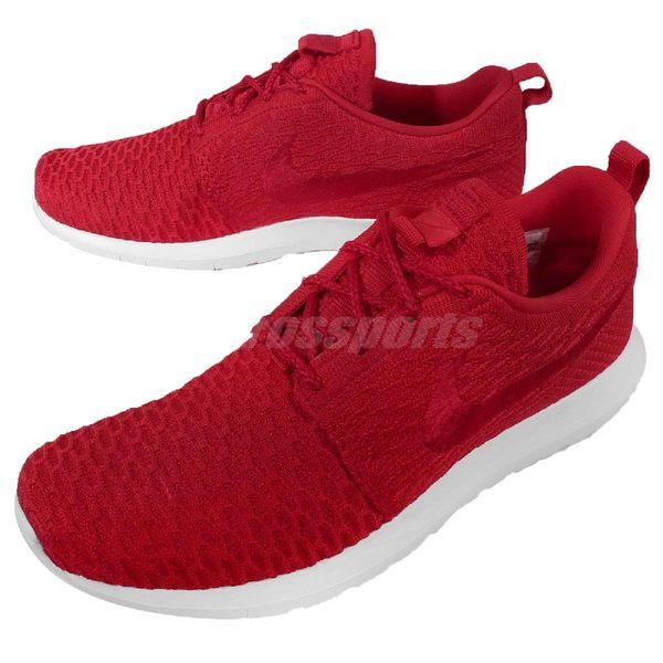 Nike 休閒慢跑鞋 Roshe Run NM Flyknit 紅 白 編織鞋面 休閒鞋 運動鞋 男鞋【PUMP306】 677243-603