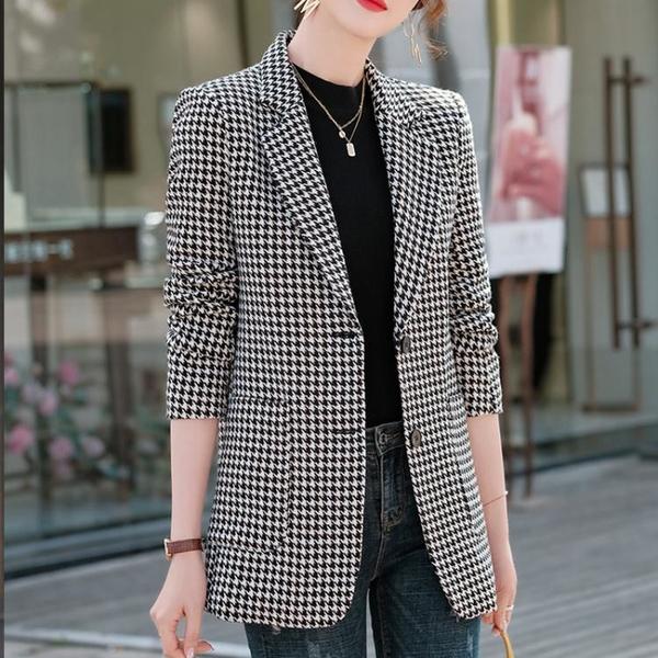 外套 千鳥格西裝外套女韓版英倫風時尚氣質小個子洋氣休閑西服上身NE68-A1 胖妞衣櫥
