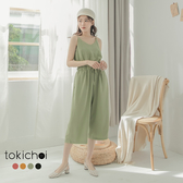 東京著衣-tokichoi-休閒甜美細肩帶縮腰多色連身褲-S.M.L(182669)