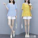短袖套裝 大碼女裝夏季新款簡約風減齡胖妹妹寬鬆遮肚上衣短褲兩件套裝 生活主義