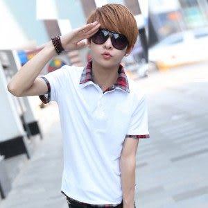 新款 衫 2014男士夏季新品 韓味時尚個性假兩件시퐁셔츠襯衫領短袖T恤 男式POLO衫