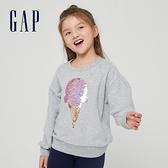 Gap女童 碳素軟磨系列 法式圈織翻轉亮片圓領休閒上衣 823877-淺麻灰