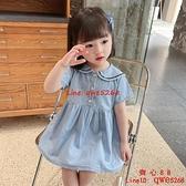 女童連衣裙夏季新款洋氣兒童短袖牛仔裙小童裙子【齊心88】