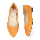 【ORiental TRaffic】復古秋色尖楦平底鞋-銀杏黃