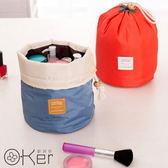 中大尺碼 輕便小巧圓筒式旅行洗漱化妝防水縮口手提包 O-Ker歐珂兒 HT009