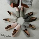 包鞋.編織方頭低跟包鞋(卡其、黑、灰)-...