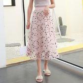 618好康鉅惠百褶裙高腰顯瘦波點網紗裙-2色