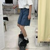 五分直筒寬鬆褲子闊腿短褲高腰學生牛仔褲女【聚物優品】