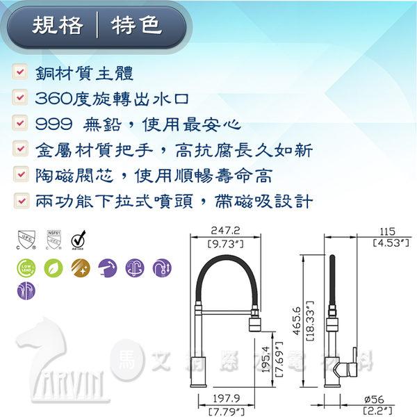 [Huntington] 美國精品無鉛龍頭 專業系列_單把兩功能下拉式磁吸噴頭_廚房龍頭 多功能出水(K19802M)