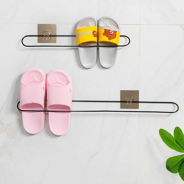 【DA430A】壁掛拖鞋架 40CM浴室衛生間掛拖鞋架 壁掛 免打孔粘貼式掛架 毛巾架 EZGO商城