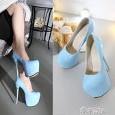 15CM超高跟鞋細跟淺藍色黑色恨天高漆皮16公分單鞋女 新年禮物