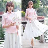 春夏改良漢服女復古民國風旗袍繡花雪紡長裙日常古裝中國風學生