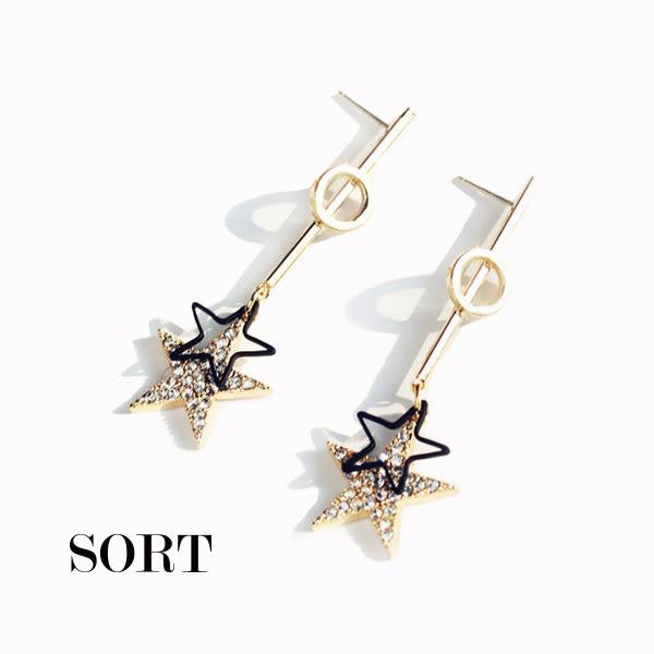 耳環 訂製款時尚百搭鏤空五角星星水鑽垂墜式耳環【1DDE0630】