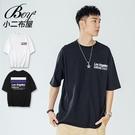 短T恤 MIT韓版LA英文雙色印花五分袖短袖上衣【NW621026】
