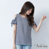 Victoria  手臂綁帶挖肩條紋變化T-女-藍白條