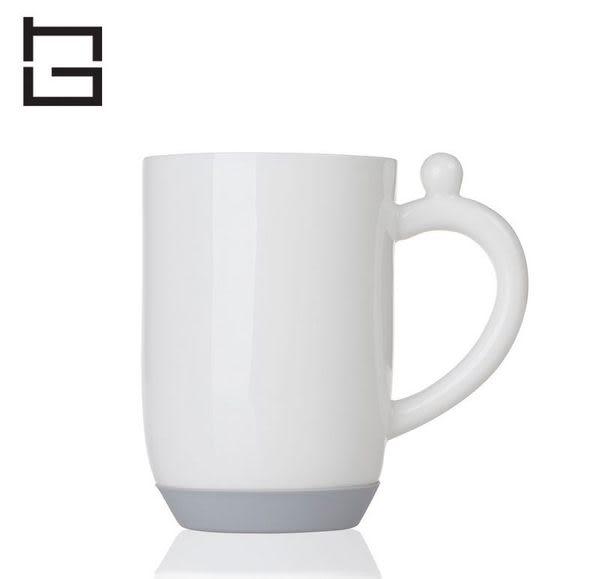 【HG】矽膠底防滑陶瓷杯牛奶杯(灰)/350ml (現貨+預購)