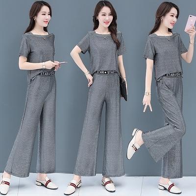 職業套裝女夏季女裝新款夏裝闊腿褲時尚休閑運動洋氣兩件套T103-B.1號公館