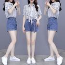 套裝~假兩件條紋襯衫女短袖韓版時尚設計感小眾輕熟套裝N2F-C11-E胖妞衣櫥