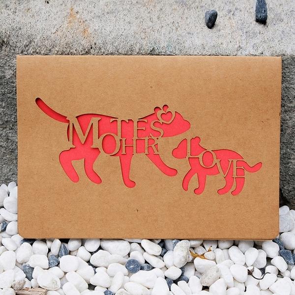 【BlueCat】森林動物親子鏤空母親節賀卡 明信片 感謝卡 手寫卡片 卡片