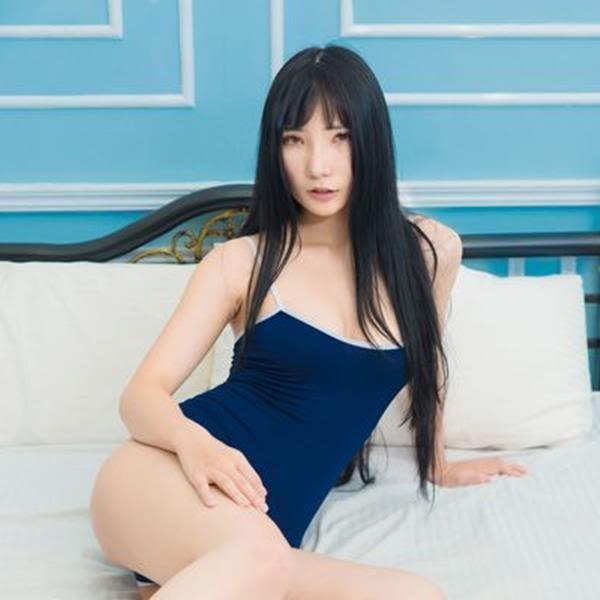 【女王時尚精品│情趣用品】性感細肩帶低胸背心連身衣 泳裝 高校體操衣-藍色