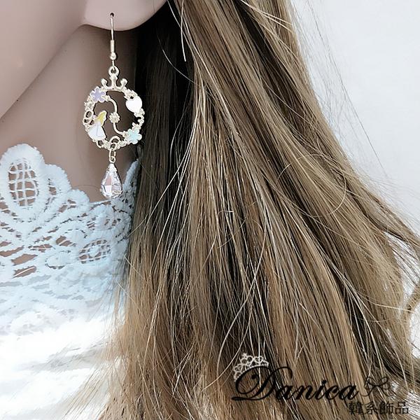 現貨 韓國少女心愛麗絲夢幻仙境水滴寶石垂墜耳環 夾式耳環 S93422 批發價 Danica 韓系飾品