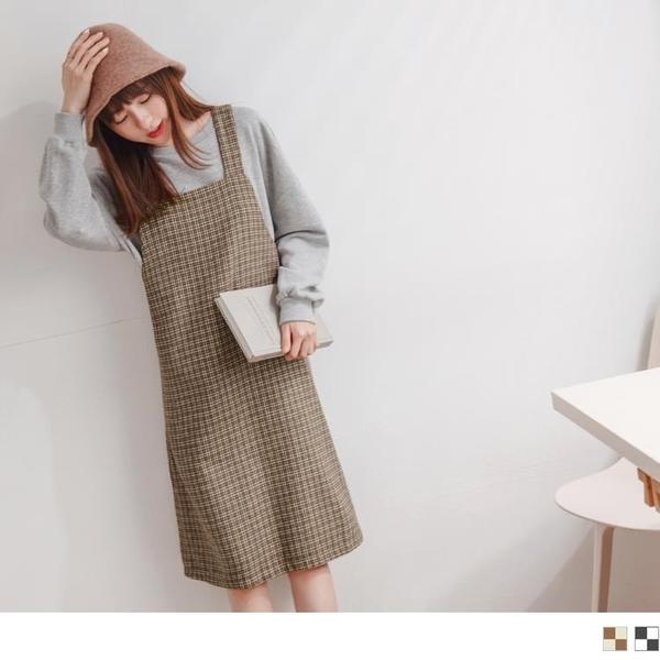 《DA8145-》暖感毛呢格紋造型吊帶洋裝 OB嚴選