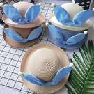 【童】蝴蝶結珍珠捲邊遮陽小圓帽/草帽/編織帽【E297428】