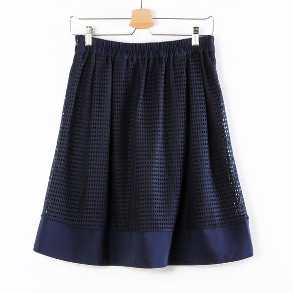 【MASTINA】方格縷空短裙-藍  秋裝限定嚴選