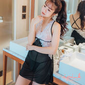 i PINK 情愛篇章 後交叉蕾絲網紗連身睡衣(黑底白蕾絲)
