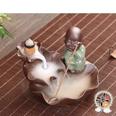 沉思小沙彌  陶土香爐【 十方佛教文物】