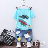 男童牛仔褲短袖T恤兩件套2019夏季新款兒童純棉休閒運動套裝中大兩件裝 GD841『小美日記』