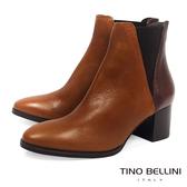 Tino Bellini冬日木質色調中跟切爾西靴_ 棕咖  A69032 歐洲進口款