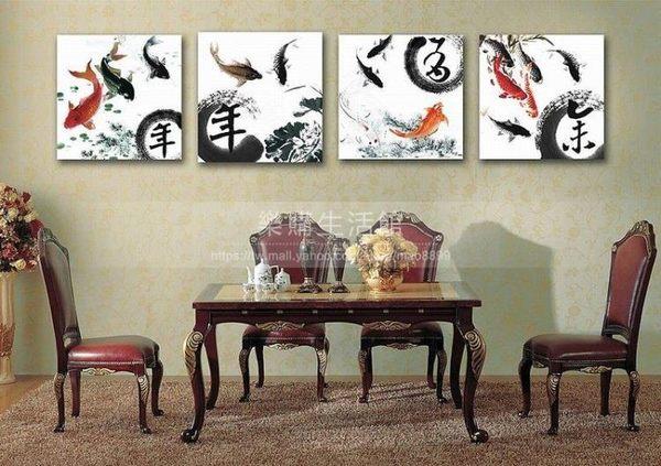 客廳裝飾壁畫/無框畫-中國風【30*30*0.9四幅】LG-2591010