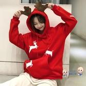 聖誕節衣服 2019秋冬新款加絨加厚連帽連帽T恤韓版ins潮聖誕衣服女可愛冬裝外套 3色M-2XL 雙12提前購